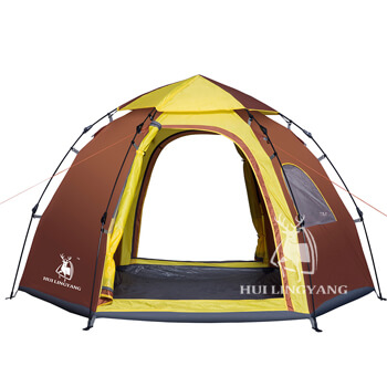 6 person instant automatic pop up hexagon cabin tent H24